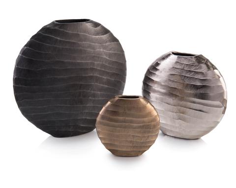 Set of Three Chiseled Vases