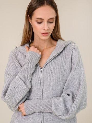 Женский джемпер на молнии светло-серого цвета из шерсти и кашемира - фото 3