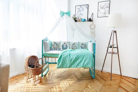 Комплект постельного белья в кроватку Панели 3-10 Мятный