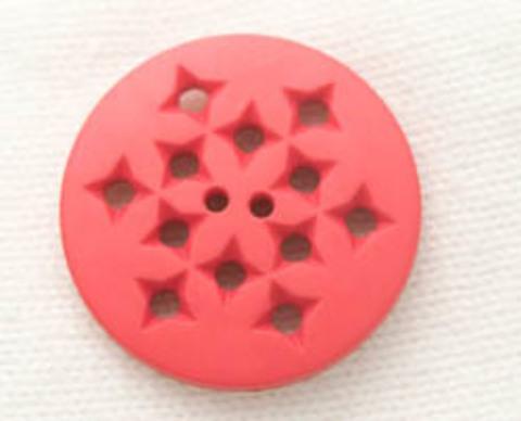 Пуговица круглая с дырочками, красная