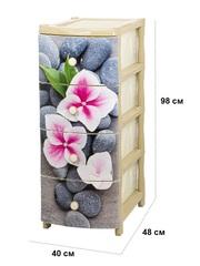 Комод с рисунком №15 Орхидея 4-х секционный бежевый из пластика Эльфпласт 40х50х96 см