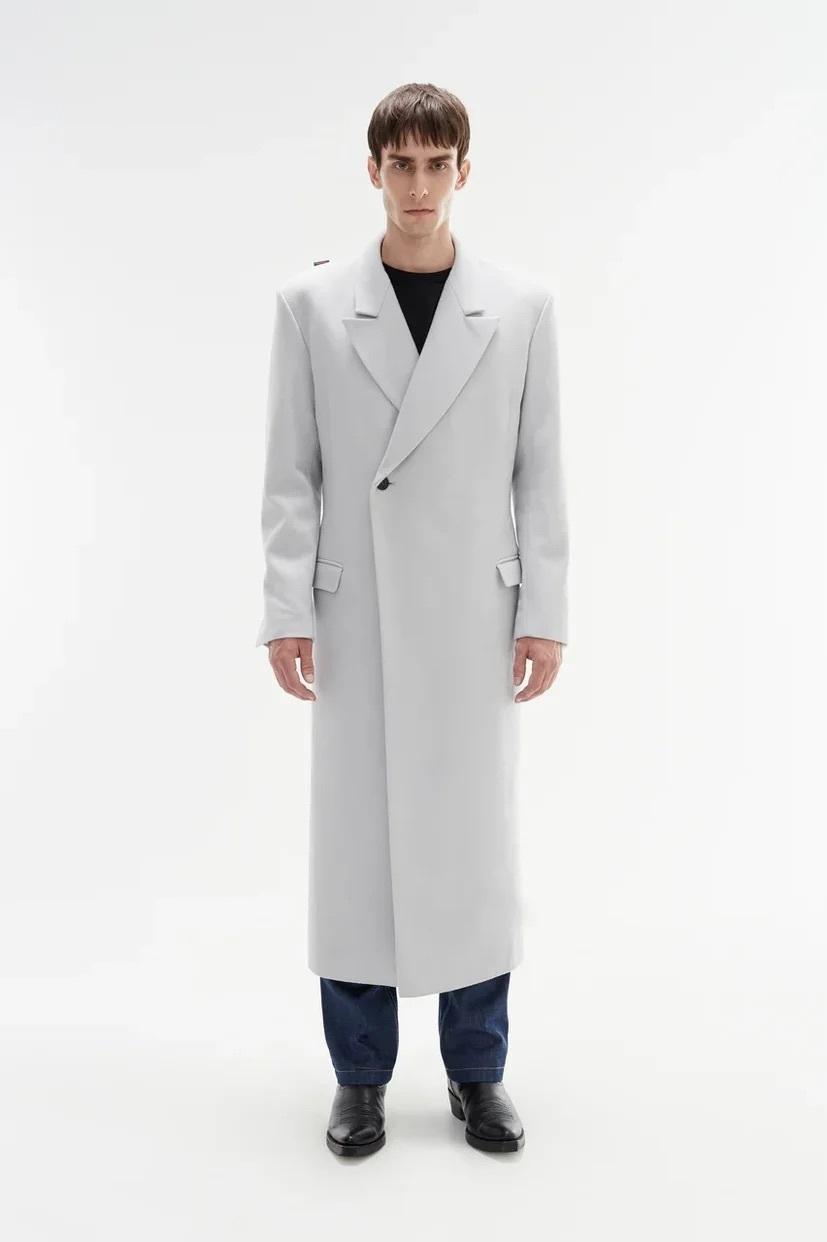 Пальто с запахом/ light gray