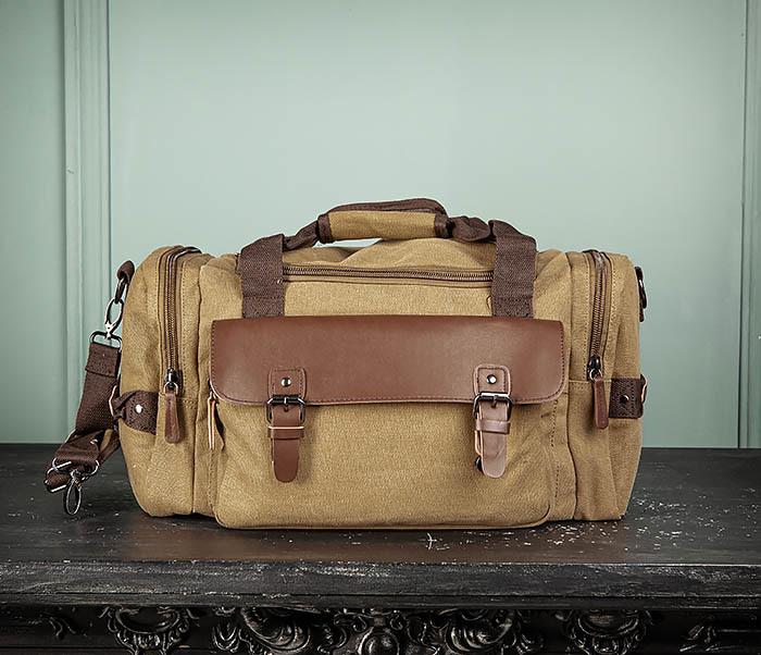 BAG502-2 Тканевая сумка для ручной клади коричневого цвета фото 02