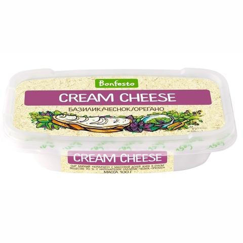 Сыр CREAM CHEESE Базилик Чеснок Орегано 70% 170 гр Bonfesto БЕЛАРУСЬ