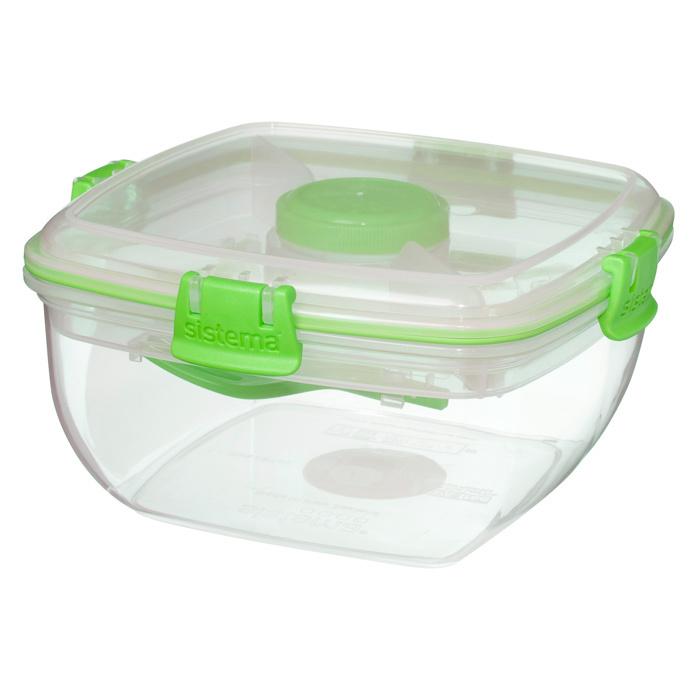"""Контейнер для салата с разделителями и приборами Sistema """"TO GO"""" 1,1 л, цвет Зеленый"""
