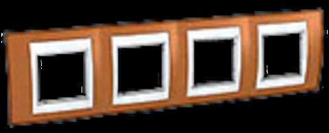 Рамка на 4 поста. Цвет Оранжевый/Белый. Schneider electric Unica Хамелеон. MGU6.008.869