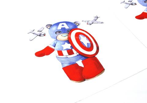 Панель(купон) мишка-капитан-Америка и самолеты-35*35 см, 4 шт.