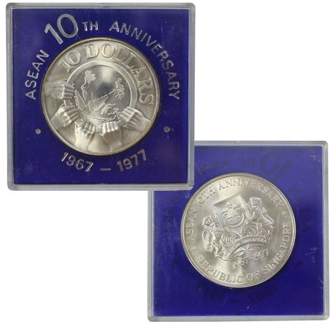 10 долларов. 10 лет АСЕАН. Серебро. 1977 год. UNC. В родной коробке