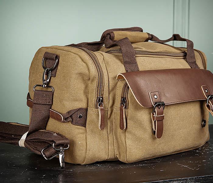 BAG502-2 Тканевая сумка для ручной клади коричневого цвета фото 03