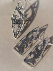 Брума Ц(кольцо + серьги из серебра)
