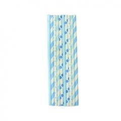 Трубочки бумажные голубое ассорти 10шт
