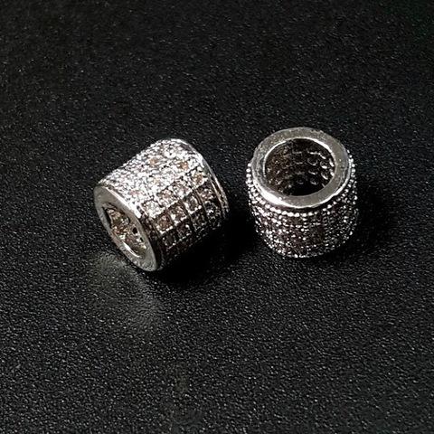 Бусина рондель разделитель 4 ряда цирконов 7 х 6 мм цвет платина