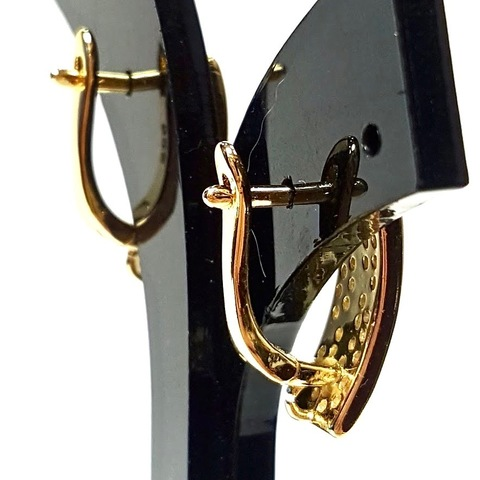 Швензы с цирконами англ. замок цвет золото 1 пара