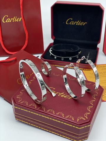 Комплект Cartier Love Silver (браслет, серьги, кольцо)