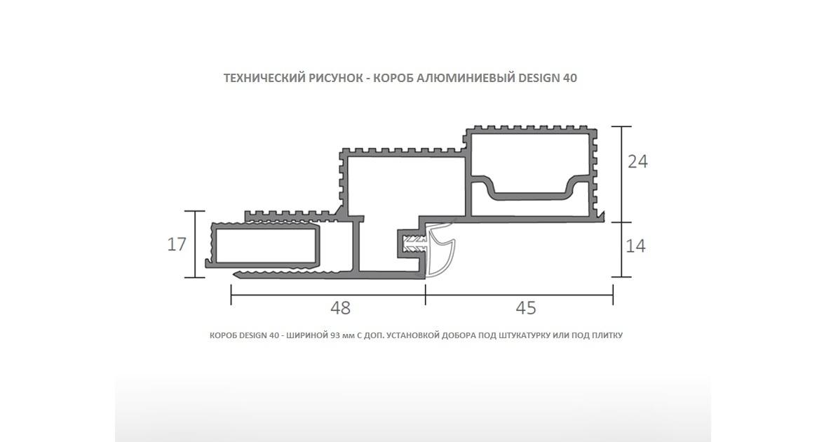 Короб алюминиевый DESIGN 40 разрез профиль
