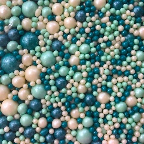 Посыпка сахарная ШАРИКИ РАЗНОГО ДИАМЕТРА 50гр МИКС 122 (белый, изумруд, бирюза)