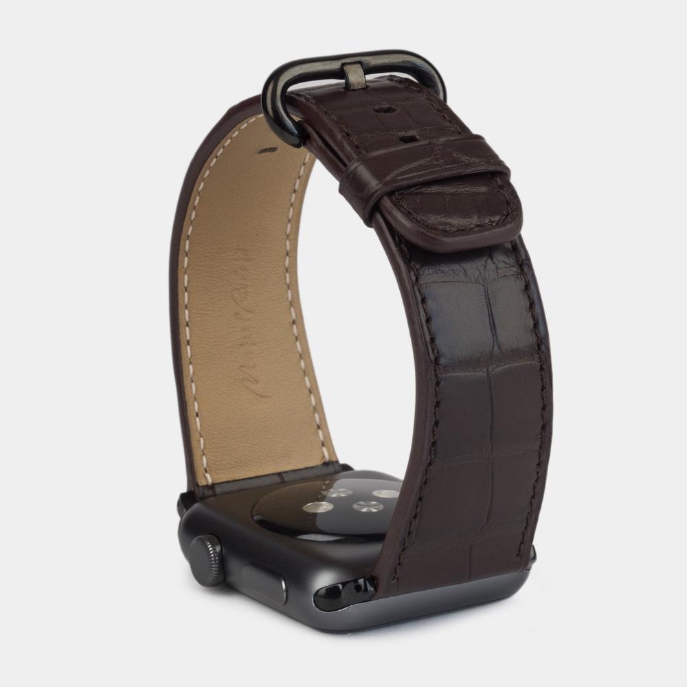 Ремешок для Apple Watch 42/44мм ST Classic из натуральной кожи крокодила, коричневого цвета