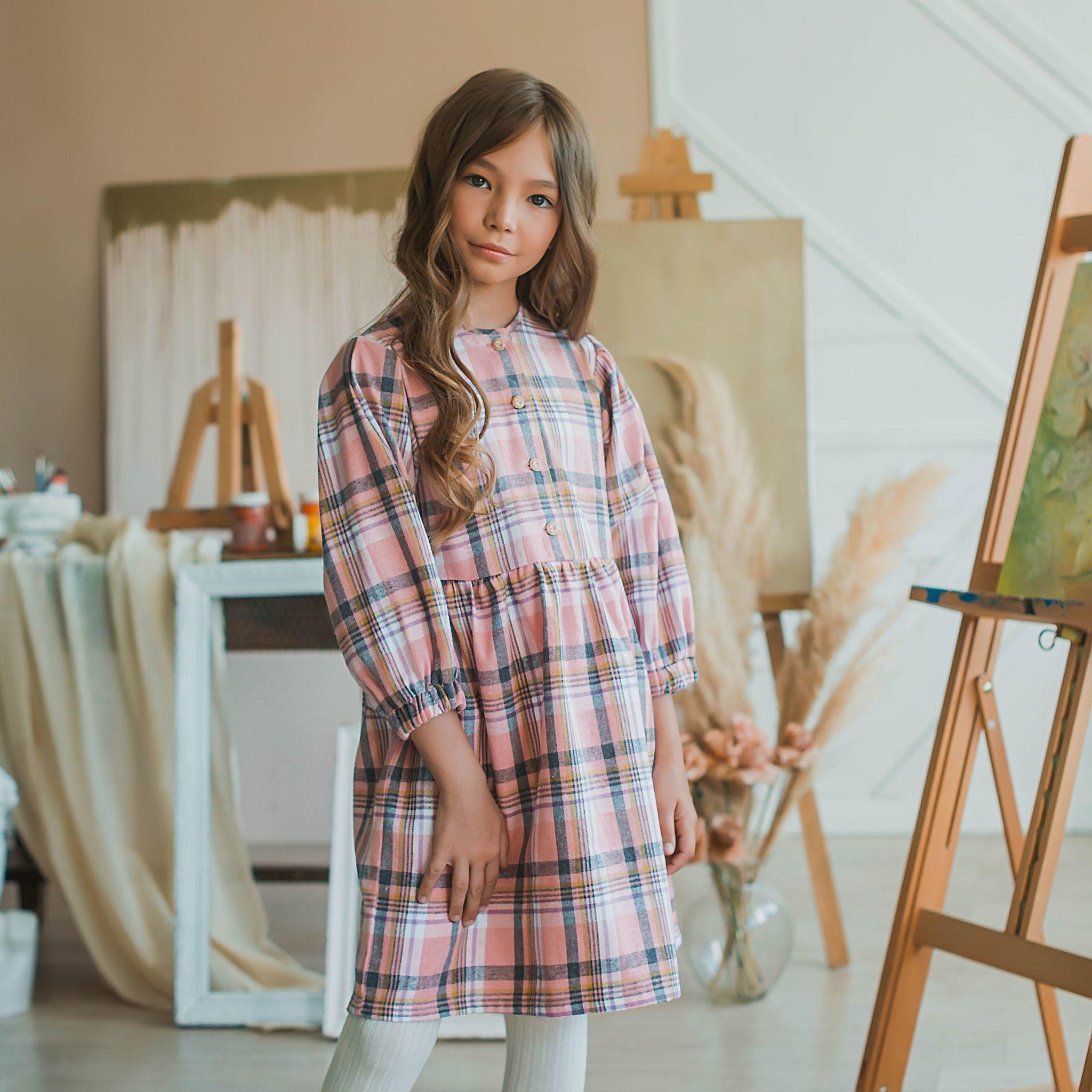 Check flannel dress for teens - Rose Quartz