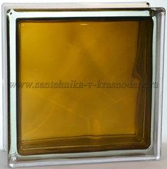 Стеклоблок бронза гладкий окрашенный изнутри Vitrablok 19x19x8