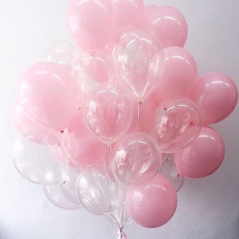 Букет из розовых и прозрачных шаров (12 дюймов)