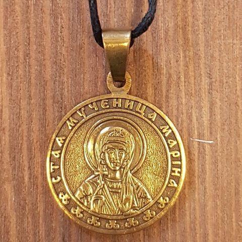 святая Марина именная нательная икона из бронзы кулон с молитвой
