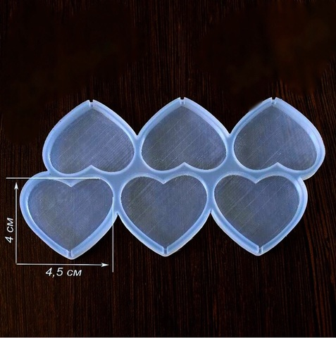 Силиконовая форма для леденцов СЕРДЕЧКИ 6в1  прозрачный силикон (45х40мм)