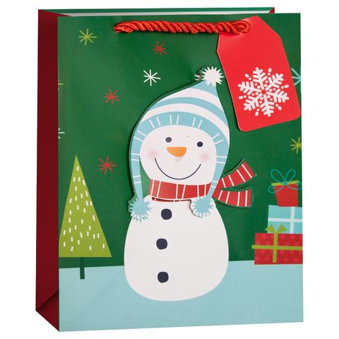 Пакет подарочный, Веселый снеговик, 42*32*12 см