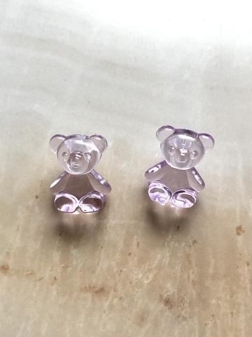 Серьги Медвежонок, фиолетовые
