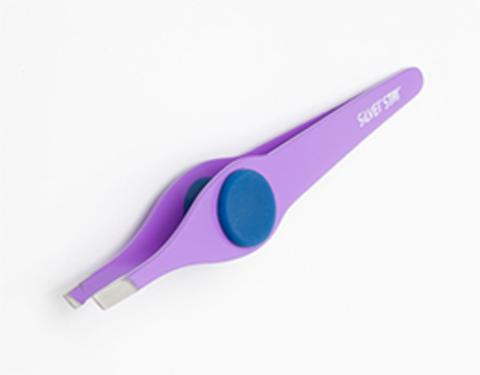 Пинцет АТ 9102 косой фиолетовый силиконовая вставка Сильвер Стар