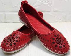 Красные кожаные балетки мокасины перфорированные женские Rozen 212 Red.