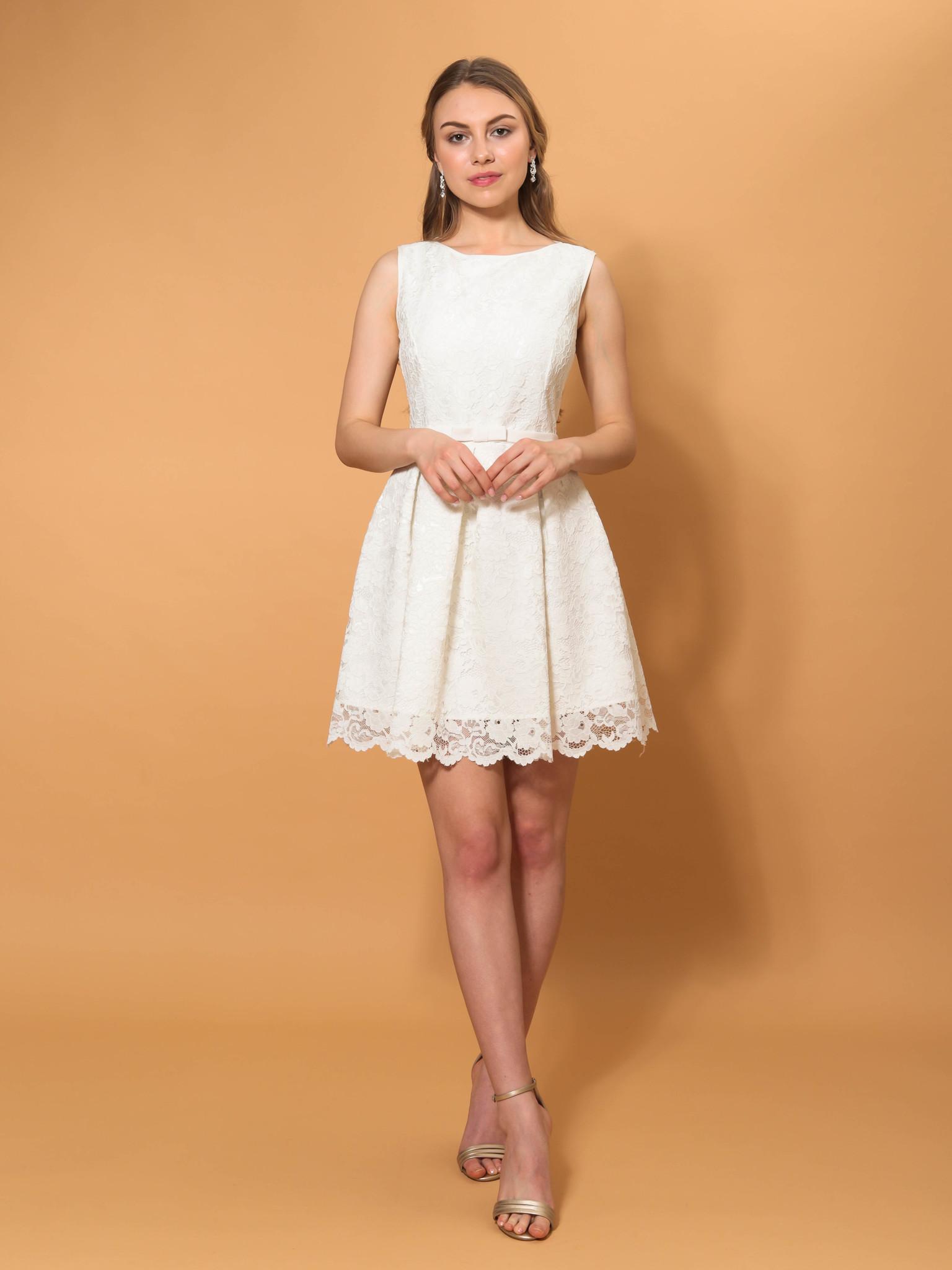 Свадебное платье кружевное мини (молочный)