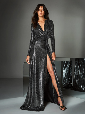 Вечернее платье классическое в пайетках