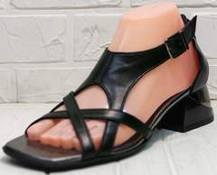 Модные черные босоножки с тонкими ремешками женские Evromoda 166606 Black Leather.
