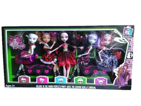 Куклы MONSTER ELVES 5 штук набор стилизованных кукол в шикарных нарядах.