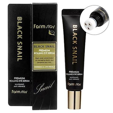 FarmStay Black Snail Premium Rolling Eye Serum антивозрастная сыворотка для кожи вокруг глаз с муцином черной улитки