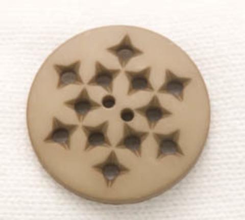 Пуговица круглая с дырочками, светло-коричневая