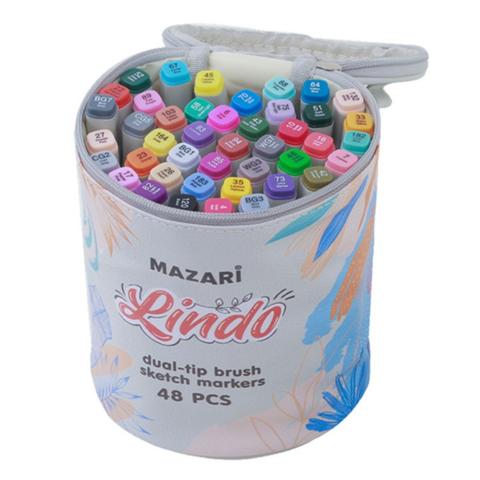 Mazari Lindo набор маркеров для скетчинга 48 шт двусторонние спиртовые кисть/долото 1.0-6.2 мм (вкл. блендер) в круглой сумке