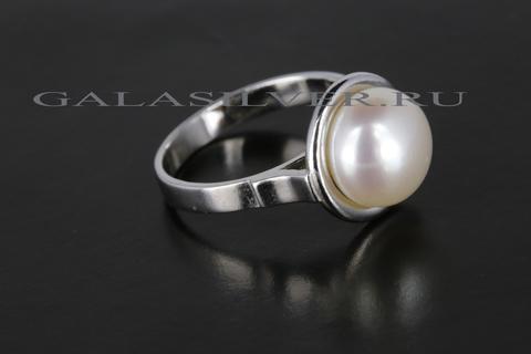 Кольцо с жемчугом из серебра 925