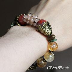 Браслет из цитрина, сердолика и солнечного камня