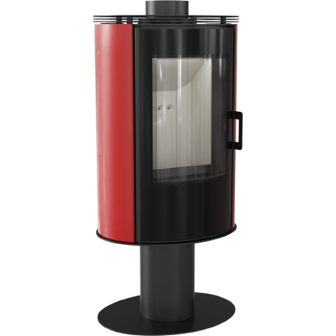 Печь-камин Kratki KOZA/AB/S/N/O/GLASS/KAFEL/CZARNY (сталь, кафель черный/красный, поворотная) (8 кВт) Под заказ