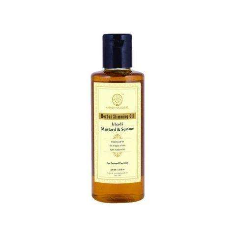 Антицеллюлитное масло для похудения «Горчица и кунжут» - без парабенов и минерального масла Khadi Natural, 210 мл