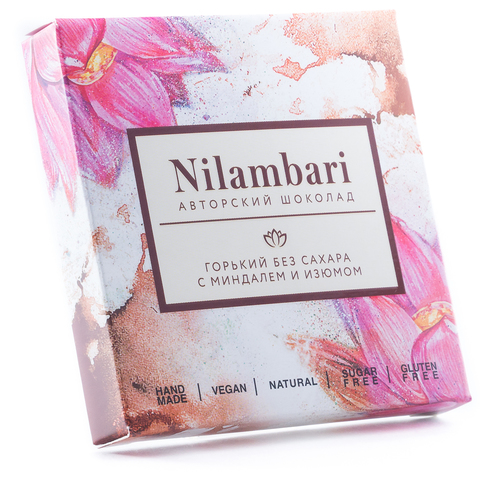 Шоколад Nilambari горький без сахара с миндалем и изюмом