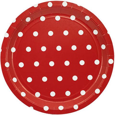 1502-3925 Тарелки большие Горошек красные, 23 см., 6 шт