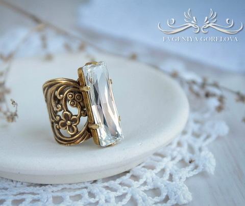 Винтажная основа для кольца (филигрань с цветочками) (оксид латуни) (Кольцо с кристаллом Сваровски. Пример)