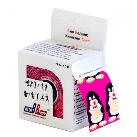 BBtape кинезио тейп 5см х 5м пингвины (розовый)