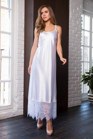 Ночное длинное платье на бретелях Evelin (BS) белое