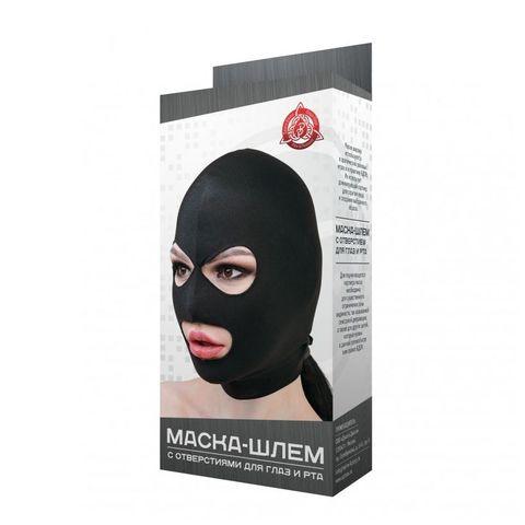 Черная маска-шлем с отверстиями для глаз и рта