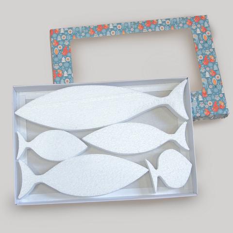 Набор рыбы из пенопласта в коробке