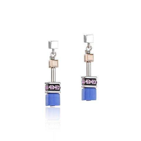 Серьги 2839/21-0740 цвет голубой, бежевый, розовый
