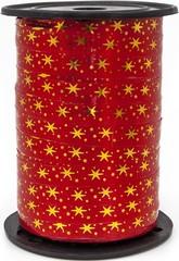 Лента (1 см*91,44 м) Золотые искры, Красный, Металлик.